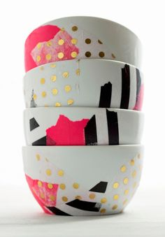 Use tissue paper and Mod Podge to glam up some basic bowls.