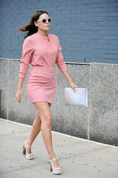 Pin for Later: #TBT: See All the Best Street Style From NYFW Last Season NYFW Street Style Day 8 Atlanta de Cadenet made the strut between shows that much sweeter in pastel pink.