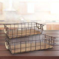 Found it at Wayfair - 2 Piece Wire/Wood Basket Set Collapsible Storage Bins, Storage Buckets, Wire Storage, Storage Containers, Wood Basket, Metal Baskets, Rattan Basket, Decorative Baskets, Traditional Baskets
