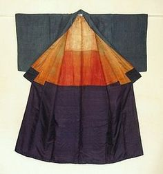 Japanese Antique Textile Katazome Stripe Kimono