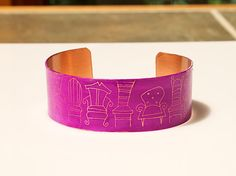 """Pin it if you love it!! Crazy Chairs Bracelet  ETCHED Copper 1"""" wide Raspberry Fuchsia Pink Handmade by Joann Hayssen SRA,  $30.00  -  20% of the purchase price will be donated to Rosemary Farm horse rescue and sanctuary!"""