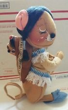 """ANNALEE DOLL Native American mother baby mouse THANKSGIVING MICE 14"""" 1987"""
