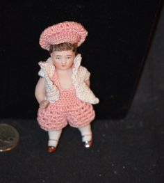 Antique Doll Miniature All Bisque Dollhouse Dressed CUTE!