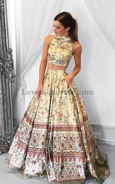 393ee44e4f17 2 Pieces Floral Print Long Prom Dress 2017 Satin Pattern Pageant Evening  Gown Lewande 50783 A Line Party Skirt Pockets