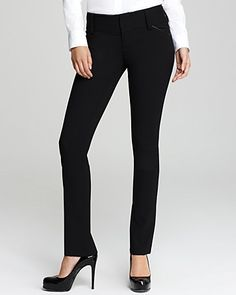 Alice + Olivia Leather Trim Olivia Slim Leg Pants | Bloomingdale's