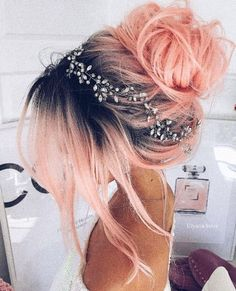 Pink peach hair color in dark roots made in a messy bun girdled with tiny flower.-- Pink peach hair color in dark roots made in a messy bun girdled with tiny flower crown Pretty Hairstyles, Wedding Hairstyles, Rose Hairstyle, Pink Hairstyles, Messy Hairstyles, Hairstyle Ideas, Mermaid Hairstyles, Fashion Hairstyles, Popular Hairstyles