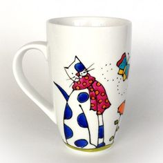 Hugging my cat. Sharpie Crafts, Sharpie Art, Cat Crafts, China Painting, Mural Painting, Ceramic Painting, Painted Coffee Mugs, Hand Painted Mugs, Ceramic Cafe