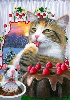 ACEO original cat mouse chocolate cake Christmas winter snow painting art | eBay