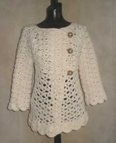 #76 Vintage Top-Down Crochet Cardigan PDF Crochet Pattern