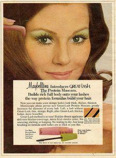 Vintage 1972 Maybelline ad introducting Great Lash.
