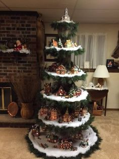 Weihnachten Want to make your own Christmas tree show your Christmas village. After purchasing, send Christmas Tree Village Display, Creative Christmas Trees, Christmas Villages, Xmas Tree, Christmas Tree Decorations, Christmas Tree Table, Ornament Display Tree, Halloween Village Display, Hanging Christmas Tree