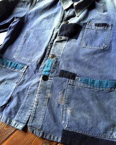 """""""SASAKI-JIRUSHI"""" French vintage patched blue work jacket with Japanese Boro."""