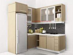 Model Kitchen Set L Mini Untuk Dapur Mungil 8 Dinding Warna Krem