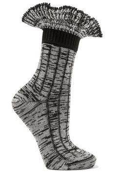 Alexander McQueen - Ruffled Wool-blend Socks - Black - M