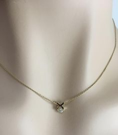 Dainty layering hugs and kisses necklace, solid 14k, genuine diamond by LelaBellaDesigns on Etsy