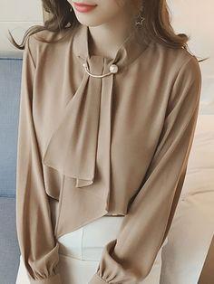 Band Collar Plain Chiffon #blouse #womenswear
