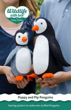 Poppy and Pip stuffed felt penguin PDF pattern by betzwhite, $12.95