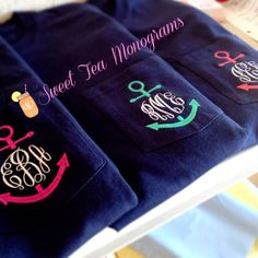 Short Sleeve Anchor Monogram Pocket Tshirt by SweetTeaMonograms