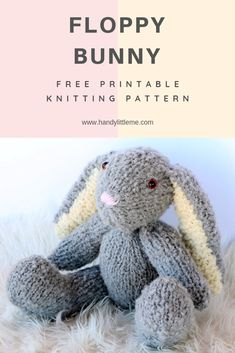 Make a floppy eared bunny with this free knitting pattern The bunny pattern is great for any advanced beginners or more intermediate knitters knit knits knitting knittingpattern bunny floppyearedbunny Circular Knitting Needles, Loom Knitting, Free Knitting, Baby Knitting, Beginners Knitting Patterns Free, Knitting Toys Easy, Knitting Designs, Knitting Stitches, Knitted Bunnies