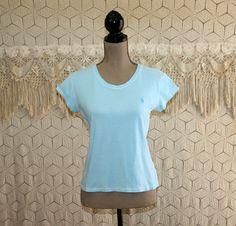 Womens Tshirts Ralph Lauren Top Light Blue & White Stripe