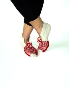 Valentines  Ivory  Wool Slippers by aykelila on Etsy, $30.00