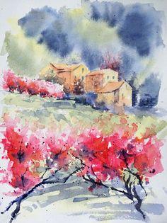 aquarelle de Didier GEORGES Abstract Landscape Painting, Ink Painting, Watercolor Landscape, Landscape Paintings, Landscapes, Watercolor Canvas, Watercolor And Ink, Watercolor Paintings, Flower Power