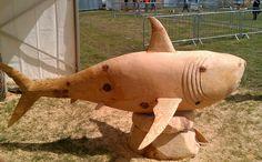 Carved Shark sculpture