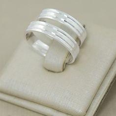 99cc896b7e Compre Aliança de Compromisso em Prata 950 Reta c  Frisos Espelhado no Elo7  por R