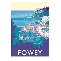 Fowey vintage style travel poster and seaside print forms part of the British Coastlines travel art collection. Created by Devon Artist Becky Bettesworth. Posters Uk, Railway Posters, Poster Prints, Retro Posters, Pink Photography, Vintage Photography, Vintage Travel Posters, Poster Vintage, Travel Memories