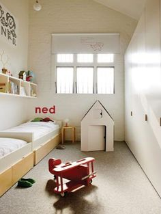 Awesome use of small space for two childs beds