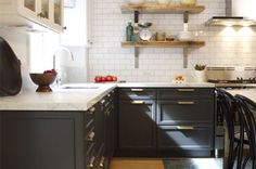 Colors of cabinets, brass pulls, barnwood shelves