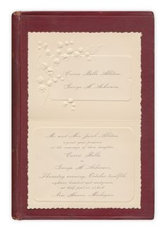 """Wedding invitation:      Carrie Belle Alliton      George H. Ackerson      Mr. and Mrs. Jacob Alliton request your presence at the marriage of their daughter      Carrie Belle     to     George H. Ackerson      Thursday evening, October twelfth, eighteen hundred and ninty-nine, at half past six o-clock.      New Haven, Michican    Found in """"A Study of Ethical Principles"""" by James Seth. Published by Scribners, 1905."""