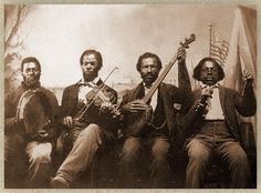 Unknown American musicians :: Sepia version, restored and flipped image from a tintype, ca. Black Violin, Minstrel Show, Old Country Music, Mountain Music, Vintage Photographs, Vintage Images, Band Pictures, Old Photography, Music Images