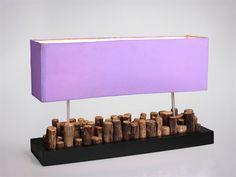 Lampada da tavolo fatta a mano,  tronchetti legno 2 punti luce paralume viola 31X60X18 CM  lamp wood briquettes handmade  #arredamento #casa #lampada #interiordesign #lamp #home #decor