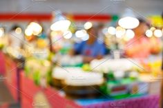 Blur people in food center Photos Abstract blur people in restaurant or food center with light bokeh background, party lifestyle by Smith Chetanachan