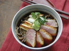 Kaeshi is used as a flavoring for soba broth. Use it in Tadashi Ono and Harris Salat's Kamo Nanban Soba from their new cookbook, Japanese Soul Cooking. Duck Recipes, Asian Recipes, Japanese Recipes, Free Recipes, Soba Recipe, Asian Noodles, Soba Noodles, Japanese Soup, Tonkatsu