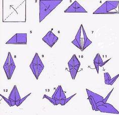 птица оригами схема