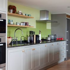 Grey and green traditional kitchen | Kitchen decorating ideas | Beautiful Kitchens | Housetohome.co.uk