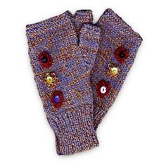 Hand Knitted Fingerless Mittens - Maroon and Blue, Paradis Terrestre - Quality Greeting Cards, Gifts, Hand Knits, Luxury Christmas Decorations, Luxury British Made Accessories and Homeware