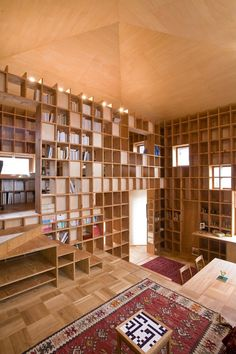 """Shelf-Pod is a private residence and study building, located in Osaka prefecture, Japan. The client owns an extensive collection of books on the subject of Islamic history, so he requested that we create this building with the maximum capacity for its storage and exhibition."""