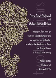 Paisley Flourish wedding invitation, eggplant