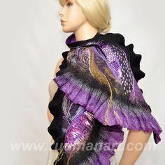 Felted Scarf Wrap Shawl Wool Silk Art Lilac Foggy by RudmanArt, $119.00