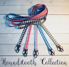 Skinny houndstooth Lanyard ID Badge Holder Lobster clasp preppy / fabric / cute / patterns / key chain / office, nurse, student id, badge / key leash / gifts / key ring / design your own / add a colorful tassel Lavender Sachets, Bling, Key Fobs, Key Chain, Letter Charms, Id Badge Holders, Gifts For Coworkers, Cute Pattern, Hand Warmers