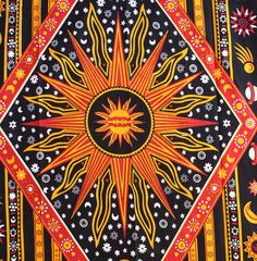 Celestial Sun Moon Star Planet Hippie Tapestry Wall Hanging Indian Bedspread Art #Unbranded
