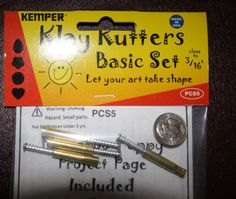 "Plunge style tinist cutters by Kemper Klay Kutters 3/16""  1 each: circle, flower, teardrop, & heart"