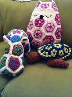 DIY Crochet African Flower Free Pattern Hippo and Owl and Turtle - Crochet Craft, Crochet Animals