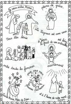 Maria di Nazareth Prayers For Children, Just Pray, Minecraft Pixel Art, Religious Education, Rosary Catholic, Teaching French, Learn French, Communion, Coloring Pages