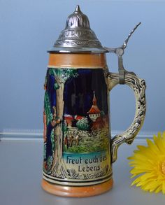 "Vintage German Lidded Beer Stein ""Freut euch des Lebens"" Marked Bottom &  #481"