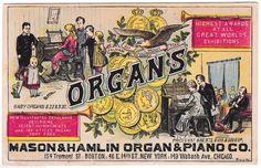 Mason Hamlin Organ & Piano Co. Advertising Trade Card Tasker's Haverhill, MA