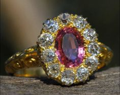 Antique Victorian Pink Tourmaline and Diamond Ring